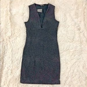 NWT Topshop glitter stretch v neck dress